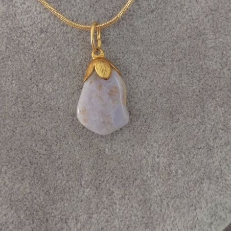 GOLDEN Flower Pendant in CHALCEDONY - CANCER Crystal Healing MINERALS Charm−3
