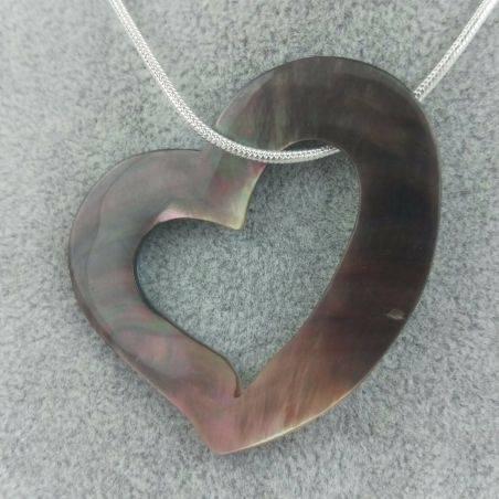 Mother of Pearl Pendant HEART - Zodiac: CANCER Crystal Healing Zodiac Gift Idea-4