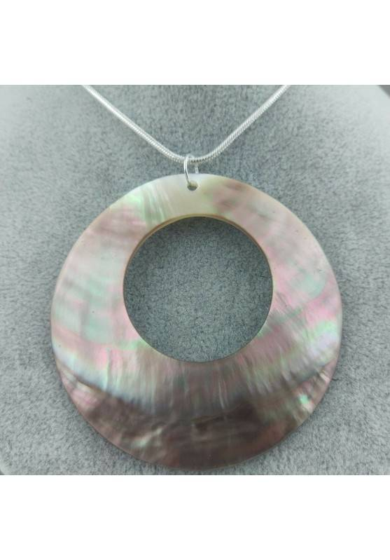 Mother of Pearl Pendant SILVER Plated - CANCER Crystal Healing Necklace-2