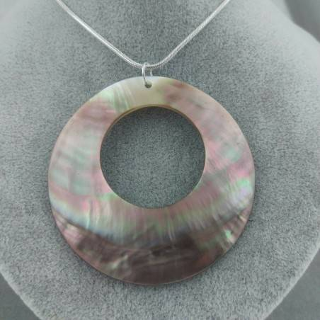 Mother of Pearl Pendant SILVER Plated - CANCER Crystal Healing Necklace−3