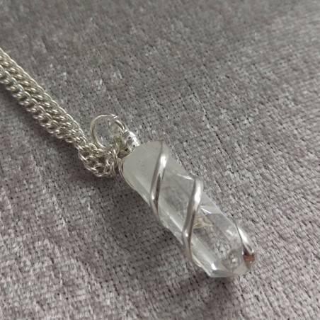 Hyaline Quartz OBELISK Pendant - AQUARIUS MINERALS Crystal Healing-4