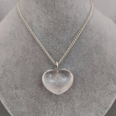 Hyaline Quartz Pendant HEART Sterling Silver 925 AQUARIUS Charm Necklace Charm−3