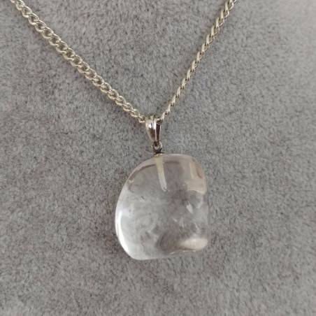 Rock CRYSTAL Pendant Sterling Silver 925 - AQUARIUS MINERALS Necklace Charm-5