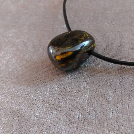 Iron Tiger's Eye Pendant Bead - SCORPIO CAPRICORN Necklace Charm Charm-1