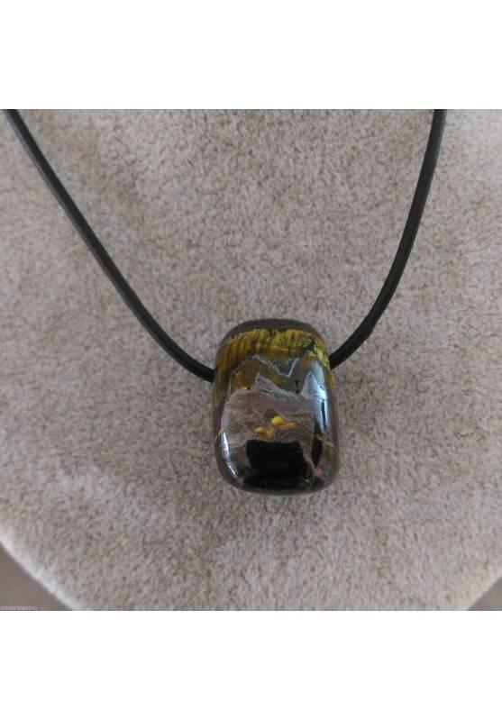 Iron Tiger's Eye Pendant Bead - SCORPIO CAPRICORN Necklace Charm Charm-2