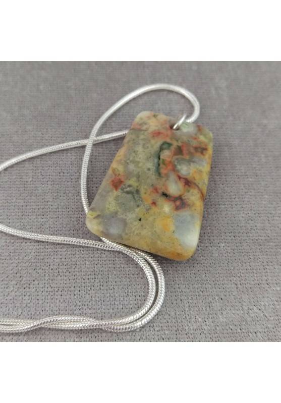 Clear Ocean JASPER Pendant Faceted PISCES LEO Charm SILVER Plated-2