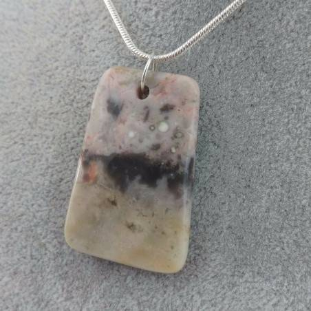 Clear Ocean JASPER Pendant Faceted PISCES LEO Charm SILVER Plated-5