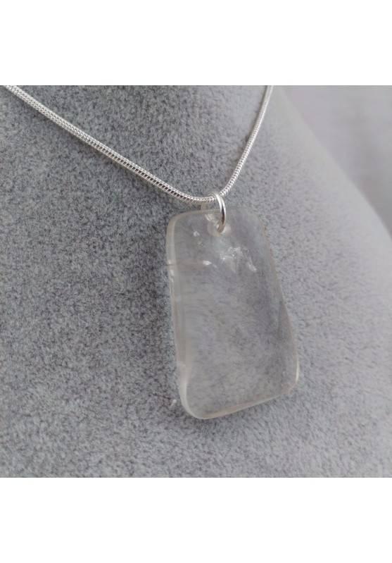 Hyaline Quartz Pendant Faceted - AQUARIUS Necklace SILVER Plated-1