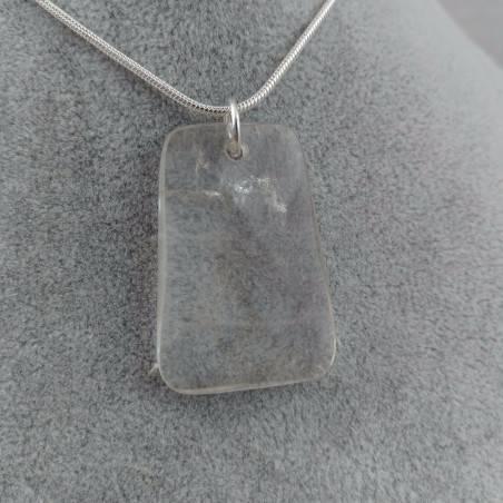Hyaline Quartz Pendant Faceted - AQUARIUS Necklace SILVER Plated-2