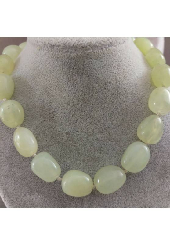 Green JADE Necklace PEARL - ARIES LIBRA GEMINI Tumbled Stone Crystal Healing-1