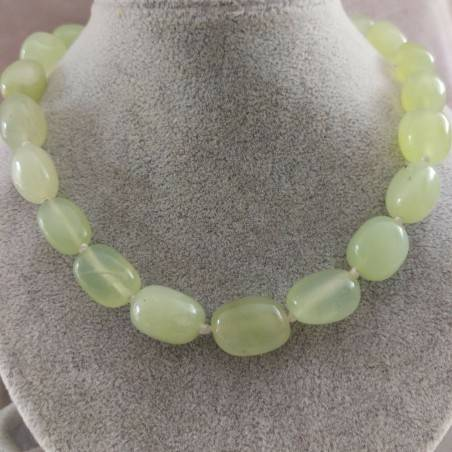 Green JADE Necklace PEARL - ARIES LIBRA GEMINI Tumbled Stone Crystal Healing-2