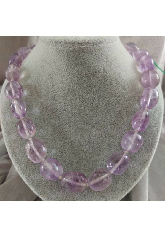 AMETHYST Necklace Pearl - ARIES PISCES Tumble Stones Zodiac MINERALS-1