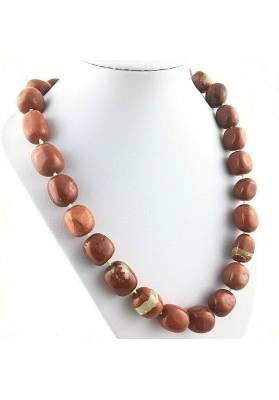 RED Jasper Necklace PEARL - LEO GEMINI PISCES Tumbled Stone Crystal Healing-1