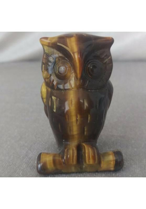 Gufo in Occhio di Tigre GRANDE Arredamento ANIMALI in Pietra Dura Minerali Casa-1