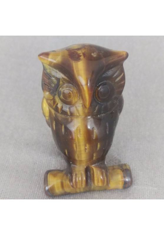 Gufo in Occhio di Tigre GRANDE Arredamento ANIMALI in Pietra Dura Minerali Casa-2