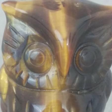 Gufo in Occhio di Tigre GRANDE Arredamento ANIMALI in Pietra Dura Minerali Casa-5