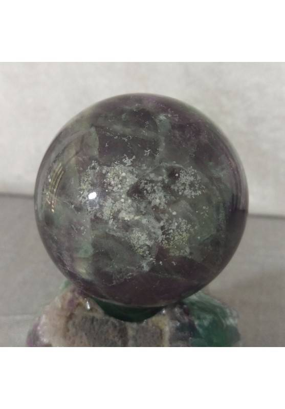 BIG Sphere in Rainbow Green Purple Fluorite Crystal MINERALS Ball Stone Rare-2