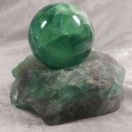 BIG Sphere in Rainbow Green Fluorite + STAND !!!* DISCOUNT 20% OFF *!!!-1
