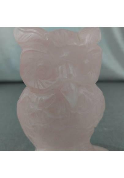 Gufo in Quarzo Rosa GIGANTE 207g Civetta Cristalloterapia Minerali Chakra Regalo-1