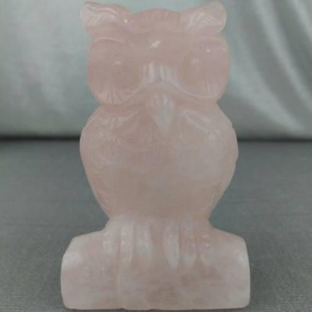Gufo in Quarzo Rosa GIGANTE 207g Civetta Cristalloterapia Minerali Chakra Regalo-2