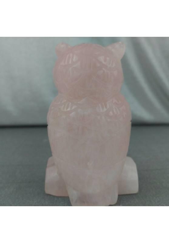 Gufo in Quarzo Rosa GIGANTE 207g Civetta Cristalloterapia Minerali Chakra Regalo-4