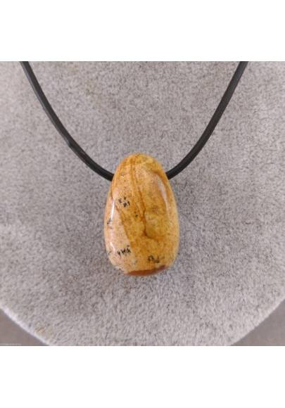 Pendant Bead in Picture Jasper Necklace Sandstone Crystal Healing Chakra A+-1