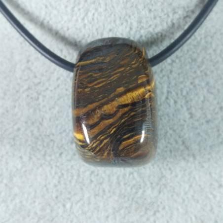 Pendant Bead in Iron Tiger's Eye TIGER'S EYE + Hematite + Jasper Necklace-2