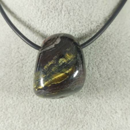 Pendant Bead in Iron Tiger's Eye TIGER'S EYE + Hematite + Jasper Necklace−3