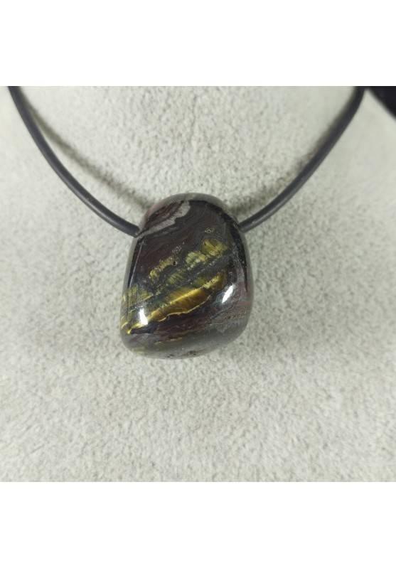 Pendant Bead in Iron Tiger's Eye TIGER'S EYE + Hematite + Jasper Necklace-4