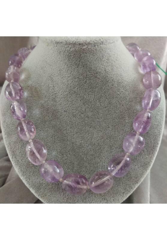 Collana Perle di Ametista Burattata Cristalloterapia Chakra Gioielli Minerali A+-1