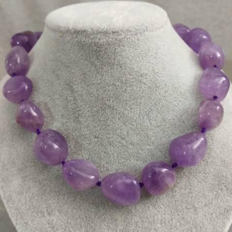 Collana Perle di Ametista Burattata Cristalloterapia Chakra Gioielli Minerali A+-3