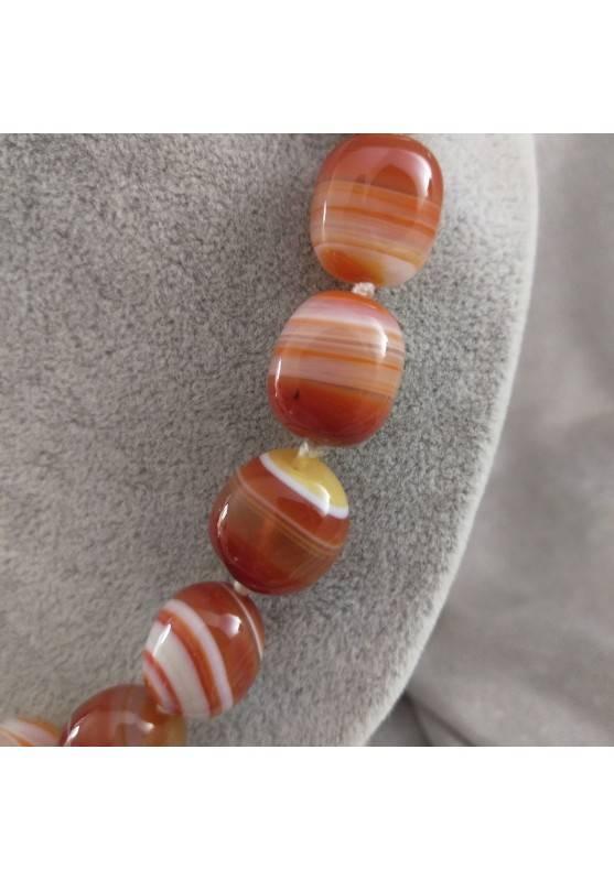 Collana Perle di Corniola Burattata Cristalloterapia Chakra Gioiello Minerale A+-1