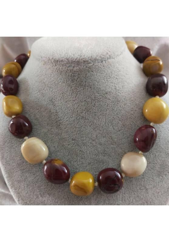 Collana Perle di Diaspro Mokaite Cristalloterapia Chakra Gioiello Minerale Reiki-1