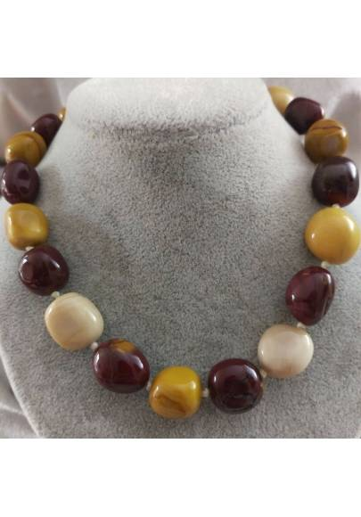 Necklace PEARL in Mookaite Jasper Crystal Healing Chakra Jewel MINERALS Reiki-1