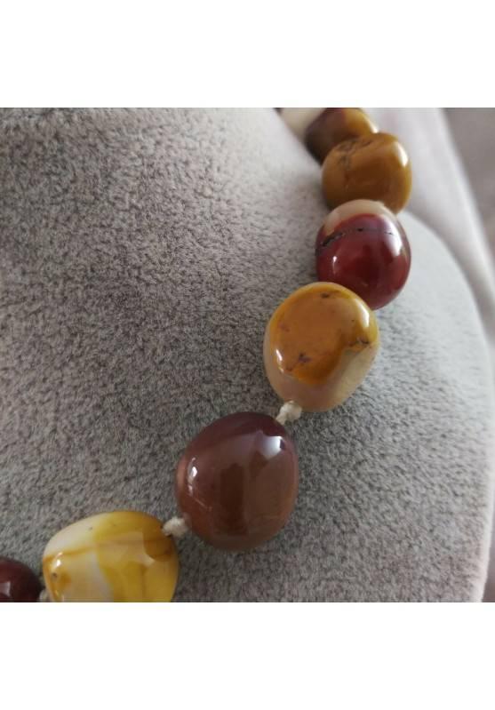 Necklace PEARL in Mookaite Jasper Crystal Healing Chakra Jewel MINERALS Reiki−3