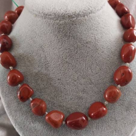 Necklace PEARL in Red Jasper Crystal Healing Chakra Jewel MINERALS Chakra-2