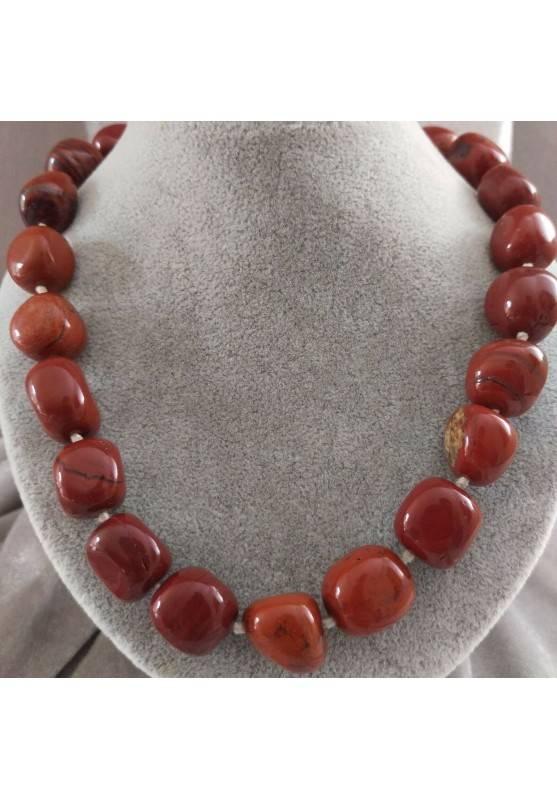 Collana Perle di Diaspro Rosso Cristalloterapia Chakra Gioiello Minerale Chakra-3