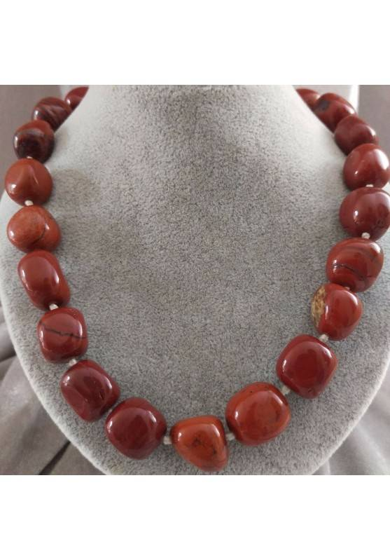Necklace PEARL in Red Jasper Crystal Healing Chakra Jewel MINERALS Chakra−3