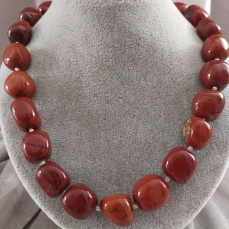 Necklace PEARL in Red Jasper Crystal Healing Chakra Jewel MINERALS Chakra−3