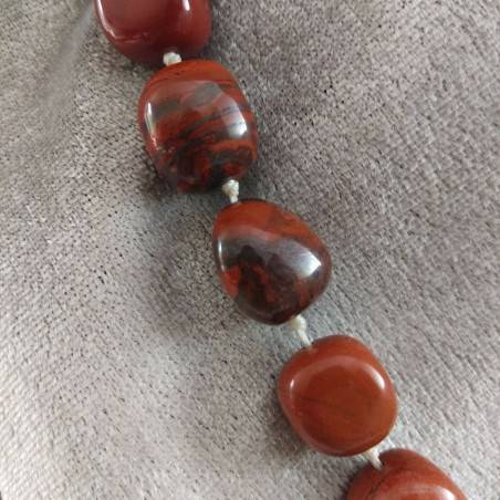 Necklace PEARL in Red Jasper Crystal Healing Chakra Jewel MINERALS Chakra-5