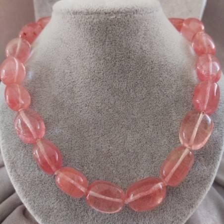 Collana Perle di Quarzo Rosa Burattato Ciondolo Cristalloterapia Gioiello Colore-1