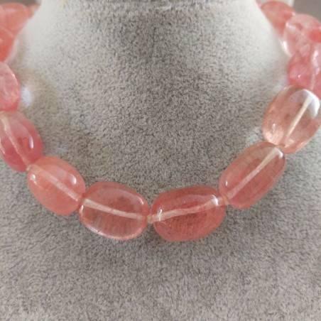 Collana Perle di Quarzo Rosa Burattato Ciondolo Cristalloterapia Gioiello Colore-2