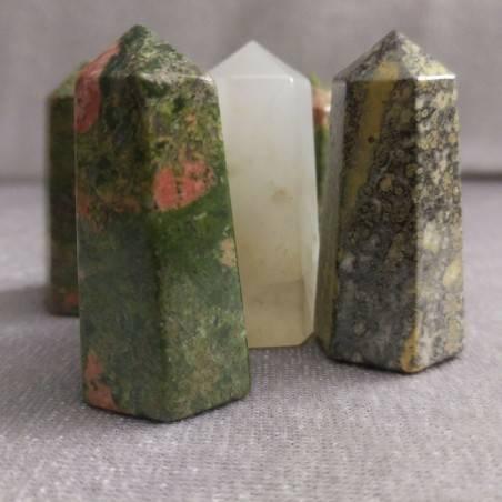 Obelisco ESAGONO in QUARZO ROSA Burattata Chakra Cristalloterapia Minerali Reiki-6