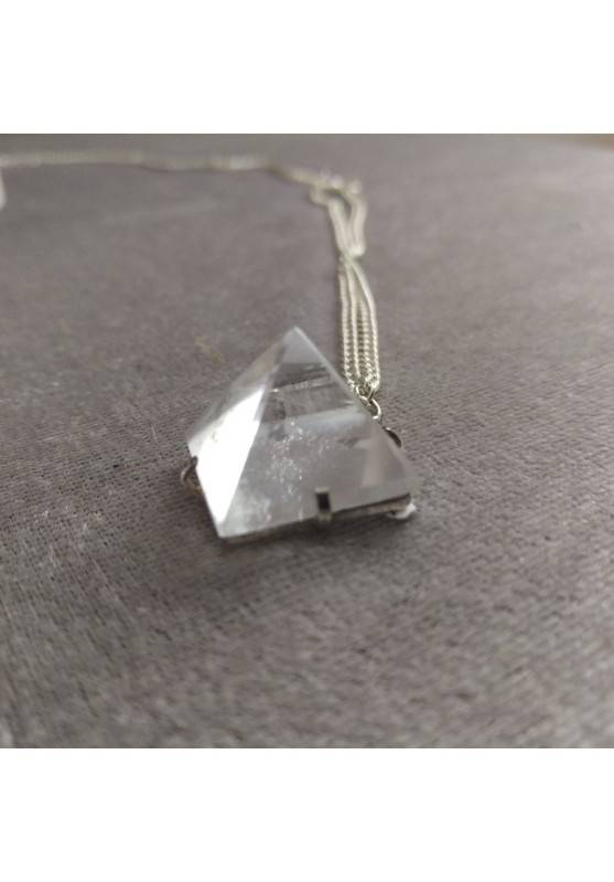 Pendant PYRAMID of Hyaline Quartz Rock CRYSTAL Necklace Crystal Healing−3