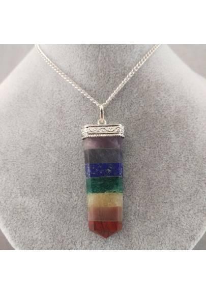 Seven 7 Chakra Pendant Crystal Healing Rose Quartz AMETHYST JASPER LAPIS LAZULI-1
