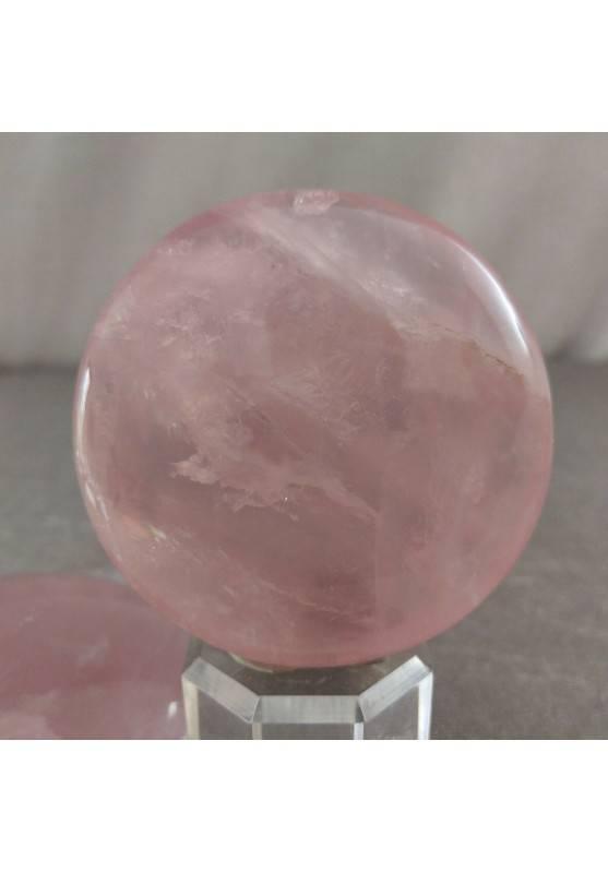Palmstone Round in Rose Quartz Tumbled Plate Pendant LOVE Crystals Reiki-1