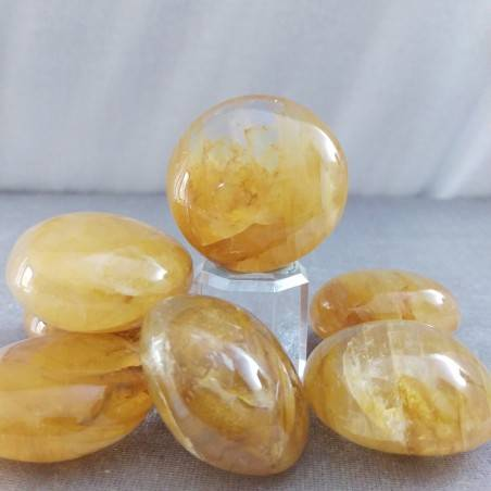 Palmstone Round in QUARTZ Hematoid BIG Massage Chakra Crystal Healing Zen-2