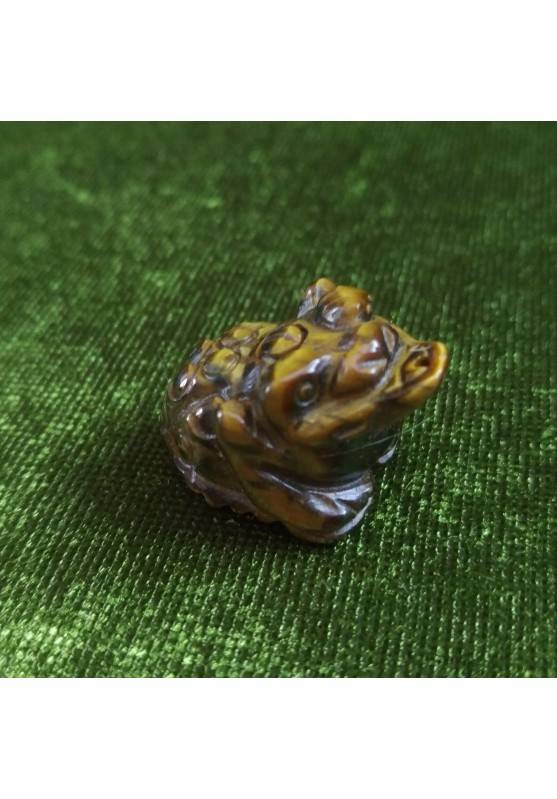 Frog in TIGER'S EYE ANIMALS Crystal Healing DRILLED QUARTZ Pendant Zen Fengh Shui-1