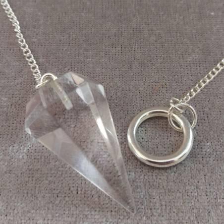 Professional Pendulum in Hyaline Quartz Rock CRYSTAL Esoteric Aura Reiki−3