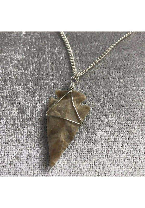 Pendant Medieval Flint Arrow Levigata Prehistoric Necklace Charm A+-1